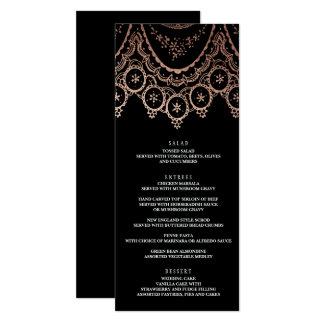 Menu sensible de mariage de dentelle d'or rose carton d'invitation  10,16 cm x 23,49 cm