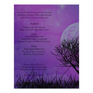 Menu snob de mariage de nuit gothique pourpre prospectus 21,6 cm x 24,94 cm