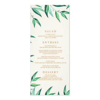 Menu tropical moderne de mariage de plage carton d'invitation  10,16 cm x 23,49 cm