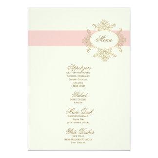 menu {vintage} de mariage carton d'invitation  12,7 cm x 17,78 cm