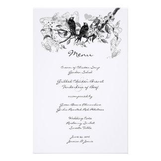 Menu vintage de mariage de branche de fleur