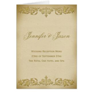 Menu vintage de mariage de style de rouleau de carte de vœux