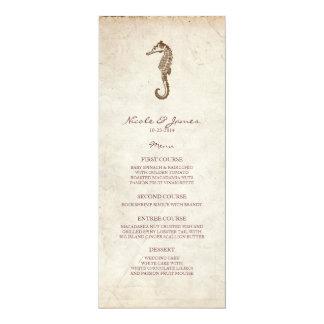 Menu vintage d'hippocampe de mariage de plage carton d'invitation  10,16 cm x 23,49 cm