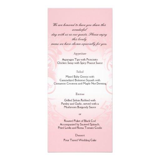 Menu vintage rose floral de mariage modèle de double carte