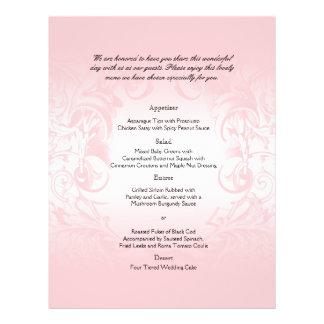 Menu vintage rose floral de mariage prospectus avec motif