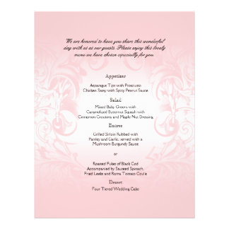 Menu vintage rose floral de mariage prospectus 21,6 cm x 24,94 cm