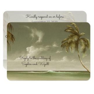 Menu vintage RSVP de mariage de plage de palmiers Carton D'invitation 8,89 Cm X 12,70 Cm