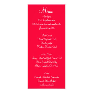 Menus blancs rouges de mariage de manuscrit cartes doubles customisables