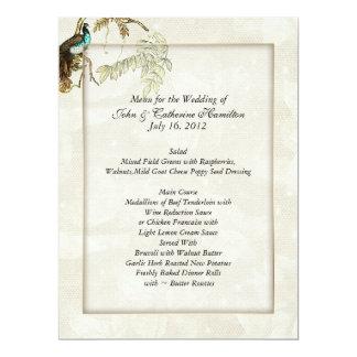 Menus chics de mariage de paon carton d'invitation  16,51 cm x 22,22 cm