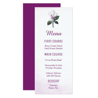 Menus de fleur de magnolia carton d'invitation  10,16 cm x 23,49 cm