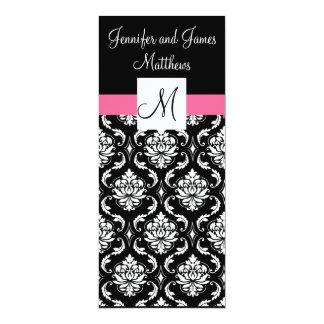 Menus roses de dîner de mariage damassé de carton d'invitation  10,16 cm x 23,49 cm