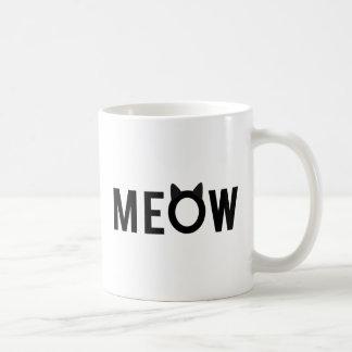 Meow, conception des textes avec des oreilles de mug blanc