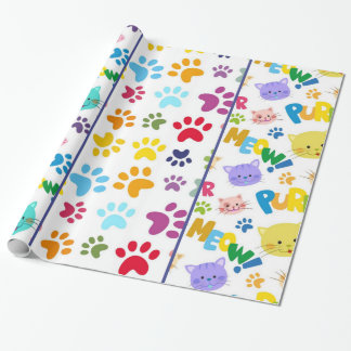 Meow de chats papier cadeau noël