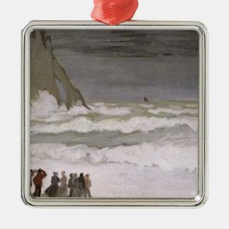 Mer agitée de Claude Monet | chez Etretat, 1868-69 Ornement Carré Argenté