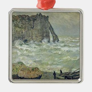 Mer agitée de Claude Monet | chez Etretat, 1883 Ornement Carré Argenté