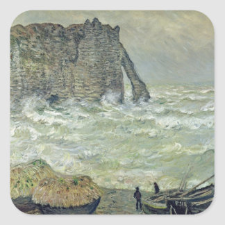 Mer agitée de Claude Monet | chez Etretat, 1883 Sticker Carré