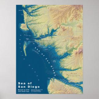 Mer de San Diego--Carte de hausse de niveau de la Poster