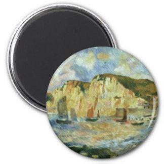 Mer et falaises par Pierre Renoir, beaux-arts Magnet Rond 8 Cm