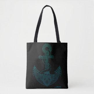 Mer nautique Ombre bleu Chevron d'ensemble d'art Sac