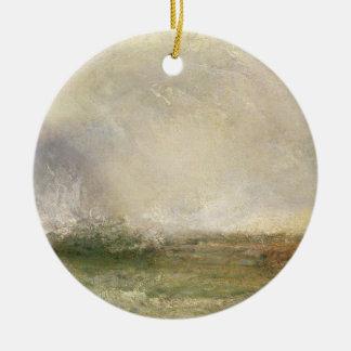 Mer orageuse se cassant sur un rivage, 1840-5 ornement rond en céramique