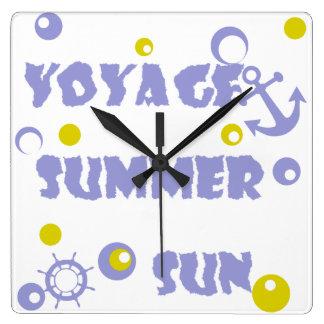 Mer, voyage, été horloge carrée