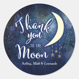 Merci à l'autocollant de lune sticker rond