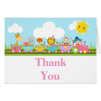 Merci animal d'anniversaire de enfant de train de carte de vœux