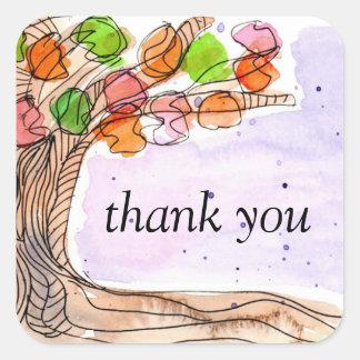 Merci - arbre feuillu d'aquarelle tirée par la sticker carré
