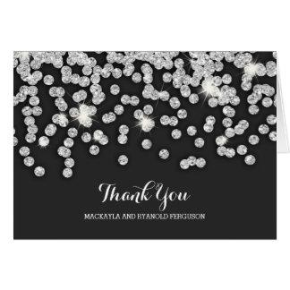 Merci argenté de mariage de diamants cartes de vœux