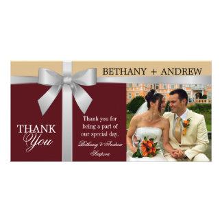 Merci argenté de mariage d'or de Bourgogne de ruba Cartes De Vœux Avec Photo