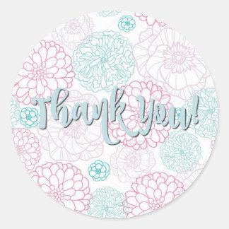 Merci autocollant floral rose et turquoise de | de