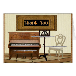 Merci avec trois cannelures et pianos carte de vœux