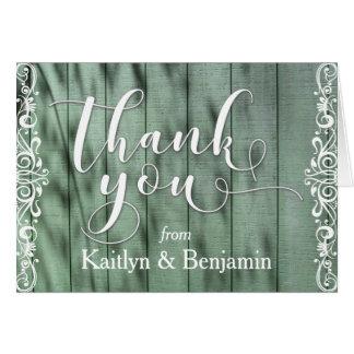 Merci blanc en bois vert rustique 1 de Scrollwork Cartes De Vœux