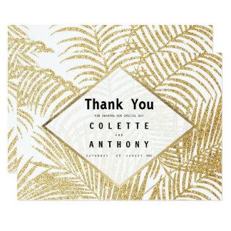 Merci blanc moderne de palmier de scintillement carton d'invitation 8,89 cm x 12,70 cm