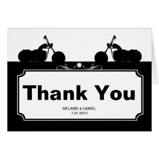Merci blanc noir de silhouette de motard de moto cartes de vœux