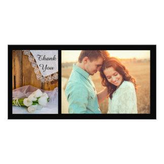 Merci blanc rustique de mariage de grange de pays cartes avec photo
