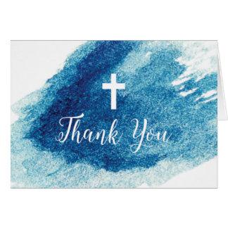 Merci bleu croisé religieux d'aquarelle cartes de vœux