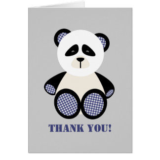 Merci bleu de baby shower d'ours panda de guingan cartes