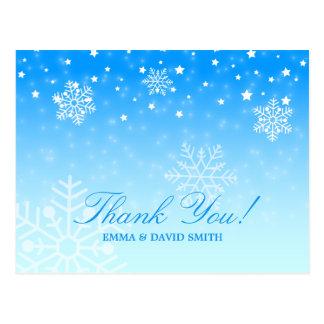 Merci bleu de mariage d'hiver de flocons de neige cartes postales