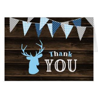 Merci bleu en bois rustique de cerfs communs cartes de vœux