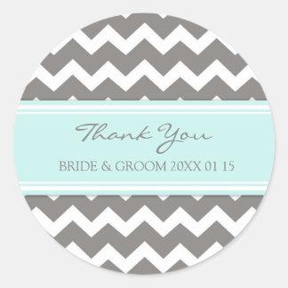 Merci bleu gris de Chevron épousant des étiquettes Sticker Rond