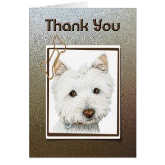 merci, carte de voeux mignonne de chien de westie