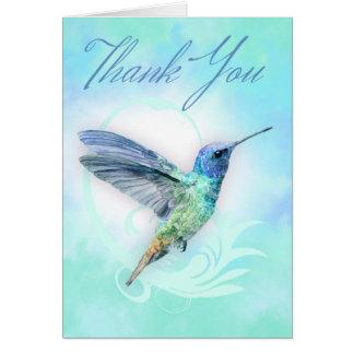 Merci - carte d'impression de colibri d'aquarelle