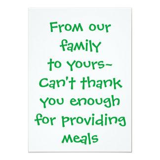 Merci carte - pour fournir des repas carton d'invitation  12,7 cm x 17,78 cm