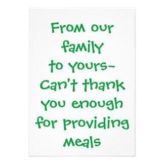 Merci carte - pour fournir des repas