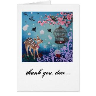 Merci, cerf commun. Carte, enveloppes blanches Cartes De Vœux