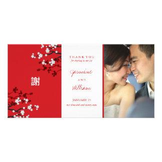 Merci chinois de mariage de fleurs de cerisier de photocarte personnalisée