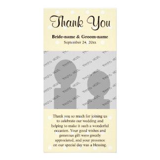 Merci crème de mariage de point de polka de couleu cartes de vœux avec photo
