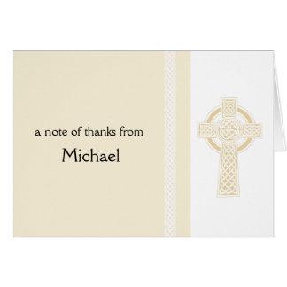 Merci croisé religieux en ivoire cartes de vœux