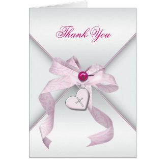 Merci croisé rose de baptême de baptême carte de correspondance